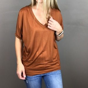 Madewell Hi Line Copper slouch v neck tee size XS